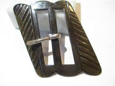 VINTAGE CELLULOID BUCKLE BROWN RIBBED DECO 1960S ATOMIC