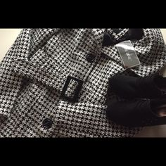 Adorable houndstooth pea coat Houndstooth Peacoat size small. NWT! It's very thick and warm. Belt is super cute! Discount on bundles! Open to trades/offers! Me Jane Jackets & Coats Pea Coats