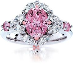 See more Pink and white diamond wedding ring for ladies