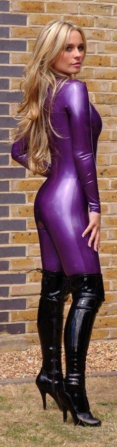 Blonde in purple latex catsuit