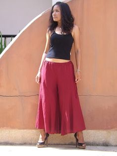 Wide Leg Pants  ...Skirt Pants  ...Color Red by Ablaa on Etsy, $28.00