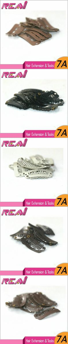 100 pcs Hair Snap Clips For Clip In Hair Extensions 28 MM 6 Teeth, Wig Clips Black Brown Blonde Stainless steel with Silicone