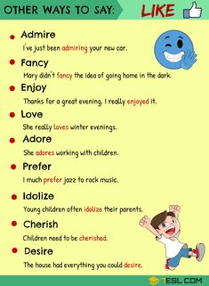 Learn English 760193612082008590 - LIKE Synonyms: 14 Useful Synonyms for LIKE in English – 7 E S L Source by valeriebrossais English Speaking Skills, English Writing Skills, Book Writing Tips, Learn English Grammar, Learn English Words, English Language Learning, Writing Words, English Study, English Lessons
