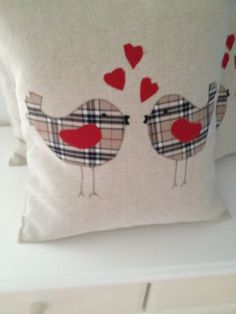 Laura Ashley Natural Austen Cushion Cover with Check Love Birds Applique