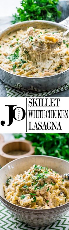 This skillet white chicken lasagna is for the true cheese lovers out there. Loaded with mushrooms, spinach, chunks of chicken, this lasagna is creamy, super cheesy and absolutely delicious.