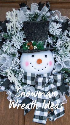 Snowman Christmas Decorations, Christmas Wreaths To Make, Snowman Wreath, Christmas Swags, Christmas Ornament Crafts, Holiday Wreaths, Diy Christmas Gifts, Christmas Projects, Handmade Christmas