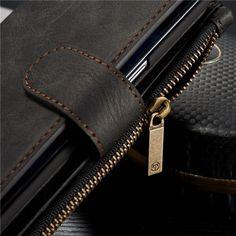 CaseMe Vintage Leather Multifunctional Detachable Zipper Wallet Case For Samsung Galaxy Edge Card Wallet, Card Case, Samsung Accessories, Retro, Multifunctional, Galaxy S7, Vintage Leather, Smartphone, Gadgets