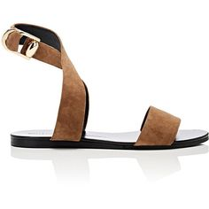 Stella Luna Women's Double-Ring Suede Sandals ($450) ❤ liked on Polyvore featuring shoes, sandals, open toe sandals, crisscross sandals, ankle strap sandals, ankle strap flat shoes and buckle sandals
