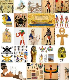 Egyptian motifs Egypt style Egyptian illustration sphinx pyramid vectors