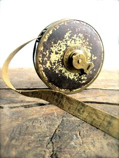 Antique tape measure cloth tape metal by LemonRoseStudio on Etsy