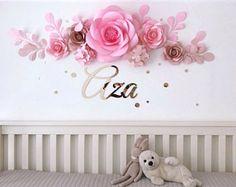 Ensemble de 7 fleurs en papier qualité haut de gamme - fleurs en papier de luxe - bébé fille chambre fleurs en papier (code : #113)
