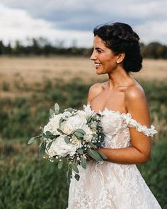 Chryssanthi Kavazi in all her beauty - her hair, make-up and greenery inspired bridal bouquet perfectly complement her stunning wedding gown with its sheer corset and an off-the-shoulder detail. Photo: by Nancy Ebert Wedding Dress Trends, New Wedding Dresses, Wedding Suits, Bridal Dresses, Bridal Bouquets, Wedding Hijab, Wedding Cakes, Dream Wedding, Wedding Day