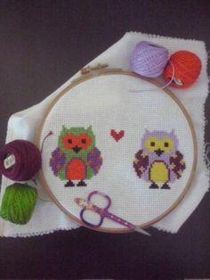 sevgili baykuşlarım Crossstitch, Cross Stitch, Punto De Cruz, Needlepoint, Cross Stitches