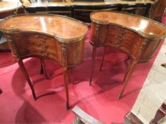 PAIR FRENCH EMPIRE STYLE KIDNEY SHAPED TABLES, BRONZE O : Lot 57