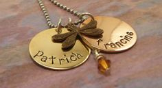 Hand Stamped Jewelry Personalized Dragonfly Necklace. $23.00, via Etsy.