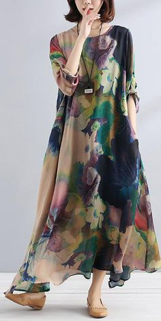boutique-maxi-dresses-Fine-charming-Women-Casual-Loose-chiffon-silk-Shirt-Dress - Summer Dresses for Women Trendy Dresses, Women's Dresses, Casual Dresses, Casual Outfits, Fashion Dresses, Summer Dresses, Short Dresses, Summer Maxi, Floral Dresses