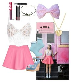 """Melanie Martinez inspired outfit"" by itsbree013 ❤ liked on Polyvore featuring Finn, Urban Outfitters, RED Valentino, For Love & Lemons, Dorothy Perkins, Michael Kors, Lime Crime and Shany"