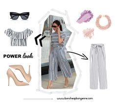"""Victoria Beckham Strip culotte outfit"" by boncheapbongenre on Polyvore featuring mode, The Seller, Bare Escentuals, Kenneth Jay Lane, stripe, victoriabeckham, victoriabeckhamstyle, stripeoutfit et victoriabeckhamoutfit"
