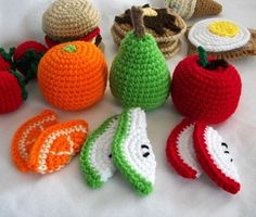 Crochet play food - lovely, except the dog would totally eat these.