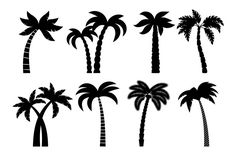 Palm Tree Silhouette, Silhouette Painting, Tree Stencil, Stencils, Theme Tattoo, Small Palms, Background Design Vector, Travel Icon, Easy Drawings