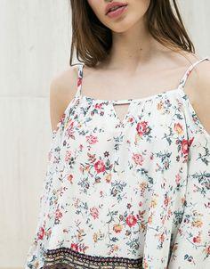 Blouse manches 3 4 épaules dénudées - Chemises - Bershka France Chemises,  Fringues, 8037582ef14