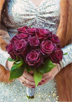 ♥ purple roses, sequin wedding dress, fur shawl  ♥