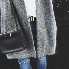 Acne Studios cardigan, Céline trio bag & H&M belt. Via Mija