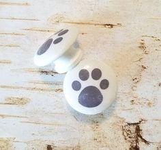 Handmade Gray Paw Print Knobs Drawer Pulls Puppy Paws White