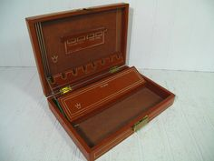 Vintage Saddle Tan Leather Jewelry Box with Gold by DivineOrders