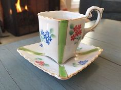 Demitasse Teacup Cup and Saucer Vintage Made In Occupied Japan White Floral