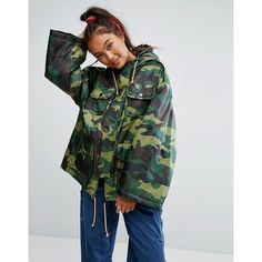 ASOS Padded Camo Jacket with Sporty Ties (825 SEK) ❤ liked on Polyvore featuring outerwear, jackets, green, padded jacket, camoflage jacket, green zipper jacket, tall jackets and prom jackets