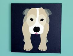 Pitbull dog art  painting on canvas by wallfrypaintings, $50.00