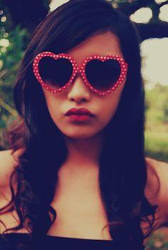 heart shaped sunnies; polka dot retro sunglasses, red and white polka dots, dotty
