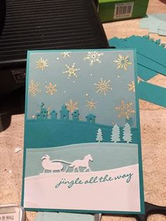 Stampin Up 'Jingle All the Way' and Sleigh Ride Edgelits, Wonderland Vellum stack.