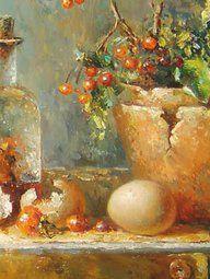 Bloempotje met bessen en twee flesjes (19,5x52 cm)rene jansen