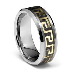8mm Greek Key Inlay Men's Tungsten Wedding Band - Size 10. Free Exchange. Scratch Resistant. 100% Cobalt and Nickle Free. Comfort-Fit. Promptly Packaged with Free Gift Box and Gift Bag.
