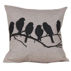 "Amazon.com - Cotton Linen Square Decorative Throw Pillow Case Cushion Cover Bird Branch with Birdcage 18 ""X18 "" -"