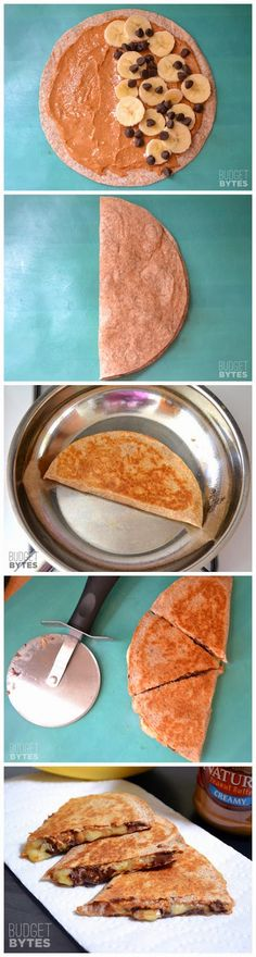 Peanut Butter Banana Quesadillas->imagine instead with almond butter and dark choc chips!
