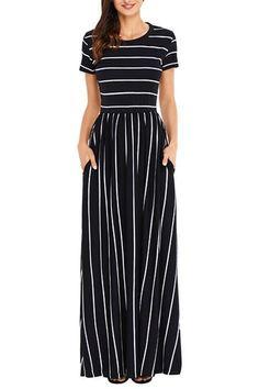 92853c9a06b Chic White Black Striped Short Sleeve Maxi Dress