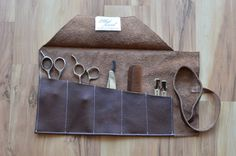 Brown Leather Roll Up Stylist Barber Shear Comb Clips Tool Case Haircut Razors Bag