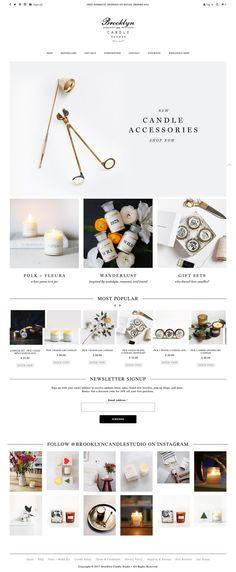 Brooklyn Candle Studio - My Design Ideas 2019 Website Design Inspiration, Website Design Layout, Layout Design, Ecommerce Webdesign, Webdesign Layouts, Ecommerce Template, Minimalist Candles, Marketing Website, Food Web Design