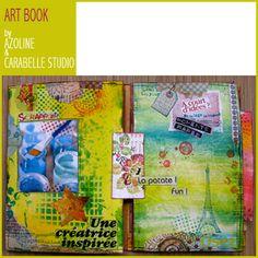 Art Book par Azoline. (pochoirs, masques et tampons scrap CARABELLE STUDIO)