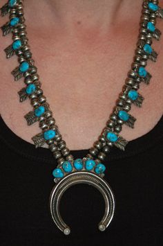 Vintage Navajo Tyrone Turquoise Squash Blossom Necklace