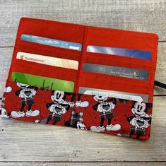 A great gift for Mickey Mouse fans Wooden Tree, Bank Card, Minimalist Wallet, Wallets For Women, Mickey Mouse, Cotton Fabric, Great Gifts, Card Holder, Fans