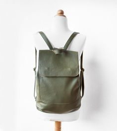 Leather Backpack in Military Green  by morelle