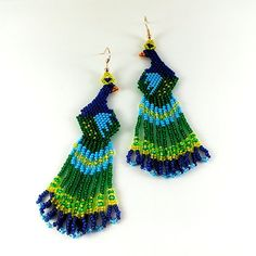 Peacock earrings Dark blue earrings Green bird earrings by Galiga