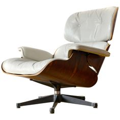 White Leather #Eames Lounge Chair Vintage Authentic European Production
