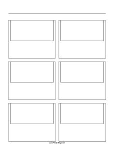 Filmmakers, animators, Web developers and others use storyboard templates to sketch out scenes. This printable, letter-sized storyboard paper has a 2x3 grid of 16:9 ratio (widescreen) screens. Free to download and print