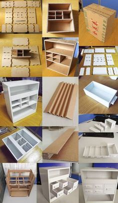 :) desk with drawers is made out paper box