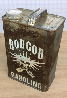 One of a kind unique gas can in a rat rod style. Skull and crossbones piston logo. Tribute to old shop truck doors..Vintage style tribute gas can makes a cool addition to any hot rod, rat rod or muscl                                                                                                                                                                                 More